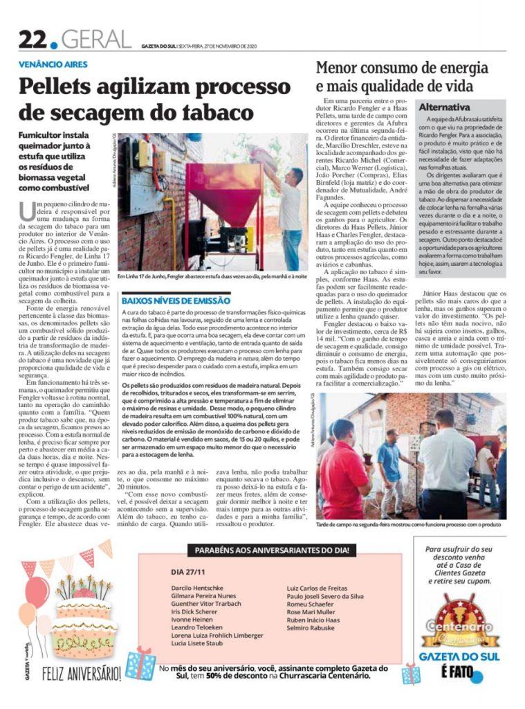 News pellets secagem do tabaco